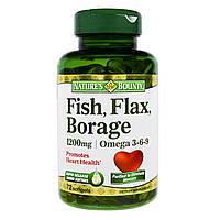 Nature's Bounty, Рыбий жир, масло огуречника и льна с Омега 3-6-9 1200 мг, 72 капсулы