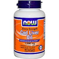 Now Foods, Рыбий жир печени трески, экстра сила, 1,000 мг, 90 гелевых капсул