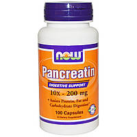 Now Foods, Панкреатин, 10X — 200 мг, 100 капсул