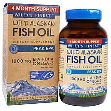 Wiley's Finest, Аляскинська риб'ячий жир, пік ЕПК, 1250 мг, 120 рибних м'яких капсул