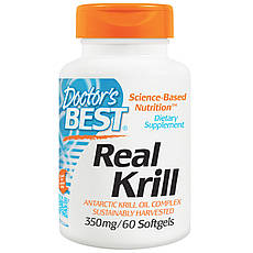 Doctor's s Best, Real Krill, 350 мг, 60 гельових капсул
