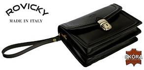 Барсетка мужская Натуральная кожа бренд Rovicky черная