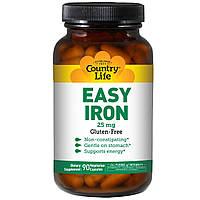 Country Life, Easy Iron, 25 мг, 90 вегетарианских капсул, официальный сайт