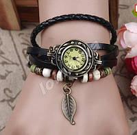 Женские часы плетеный ремешок black