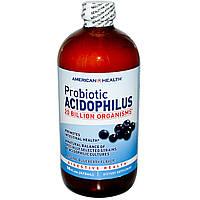 American Health, Пробиотик ацидофилус с натуральным черничным вкусом, 472 мл