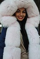 Парка зимняя из финского песца нежно-розового цвета, роскошный капюшон, 46р в наличии