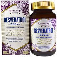 ReserveAge Nutrition, Ресвератрол, формула против клеточного старения, 250 мг, 120 вегетарианских капсул