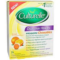 Culturelle, Здоровье пищеварительной системы, пробиотик в жевательных таблетках со вкусом апельсина, 24 таблетки