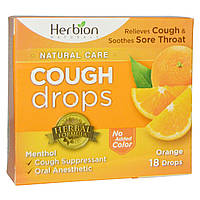 Herbion, Naturals, Леденцы от кашля, апельсиновый вкус, 18 шт.