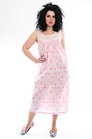 Ночная рубашка с кружевом и розовыми цветами, хлопок, Индия, батал, 48-56  размеры