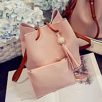 Практичная женская сумка кошелёк 2 в 1 с коричневым ремешком розовая