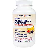 American Health, Жевательные ацидофилус и бифидум, ассорти натуральных фруктовых вкусов, 100 капсул