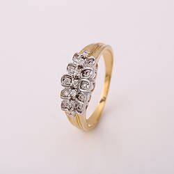 Кольцо 11921/1 плохо прокрашено, размер 16, позолота 18К