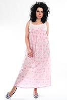 Ночная рубашка с кружевом и розовыми цветами, хлопок, Индия, батал, 48-56  размеры, фото 1