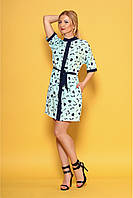 Мятное стильное платье рубашка с принтом