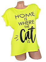 Женская футболка 03 cat неон лимон СП