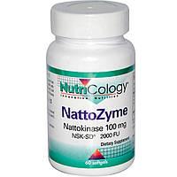 Nutricology, NattoZyme, наттокиназа, 100 мг, 60 гелевых капсул