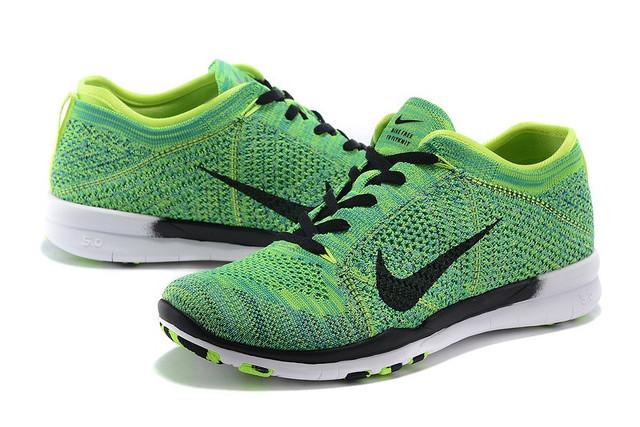 Nike Free TR 5 Flyknit Women s Training Shoe Green Volt Black White