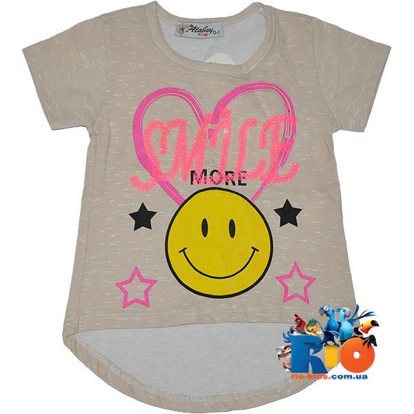 """Летняя футболка """"Smile More"""" , из трикотажа , для девочек от 0-4 лет (4 ед. в уп.)"""