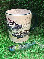 Чашка ЩУКА радужная с цветной ручкой