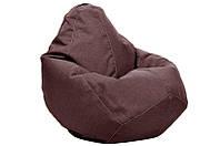 Коричневое кресло-мешок груша 140*100 см из микро-рогожки