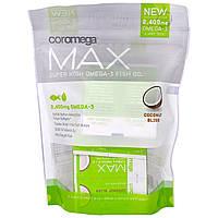 """Coromega, """"Макс"""", рыбий жир со сверхвысоким содержанием омега-3, со вкусом кокосового блаженства, 60 выжимающихся пакетиков по (2,5 г)"""