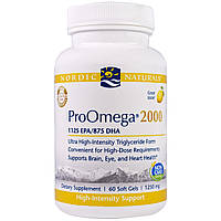 """Nordic Naturals, """"ПроОмега 2000"""", пищевая добавка с омега-3, с лимонным вкусом, 1250 мг, 60 мягких желатиновых капсул с жидкостью"""