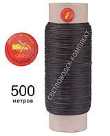 Нить вощёная прошивочная, полиэстер, 500 м, Текс №280 цв. коричневый, круглая нить