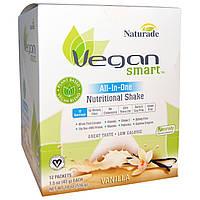 """Vegan Smart, """"Умный веган"""", питательный коктейль """"все водном"""", ваниль, 12 пакетиков, 1,5 унции (43 г) каждый"""