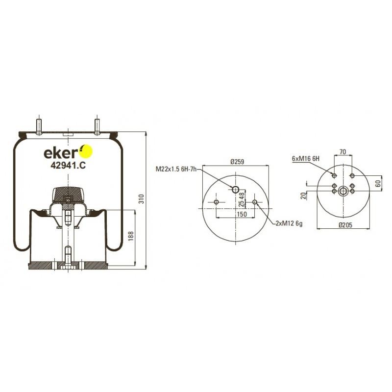 42941.C Пневморесора 941MB в зборі з метал склянкою, 2 шпильки(зміщені)+повітря М22мм, 2 болта (0542941241)
