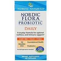 Nordic Naturals, Ежедневный комплекс пробиотиков Nordic Flora, 60 капсул