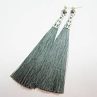 Серьги-кисточки темное серебро,  [12 см]