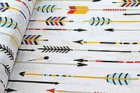 """Польская хлопковая ткань """"стрелы разноцветные на белом"""""""