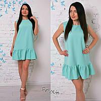Женское летнее свободное платье с воланом внизу в разных цветах