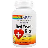 Solaray, Красный дрожжевой рис, 600 мг, 120 вегетарианских капсул