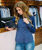Рубашка женская синяя с цветочным принтом, длинный рукав ,приталенная. Разм. L, XL . Dav