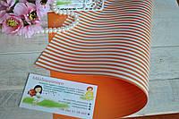 Дизайнерский картон оранжевый в полоску двухсторонний  поштучно