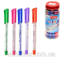 Ручка шариковая пишет синим Yuva 1264 (0,6мм) корпус ассорти