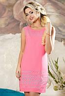 Женское летнее слегка приталенное платье розовое