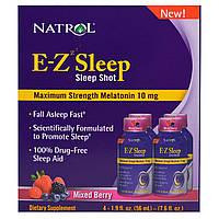 Natrol, E-Z Sleep, Sleep Shot, Ягодная Смесь, 4 Упаковки, 1.9 oz (56 ml)