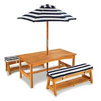 Деревянный столик со скамейками и зонтом KidKraft (00106)