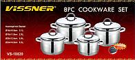 Набор посуды Vissner VS 10820 (4 кастрюли с металлическими крышками)