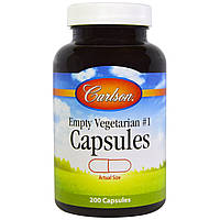 Carlson Labs, Пустые вегетарианские капсулы №1, 200 капсул