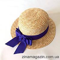 Шляпка канотье с фиолетовым бантиком