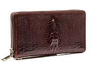 Эксклюзивный мужской кожаный клатч под кожу крокодила коричневый (00334)