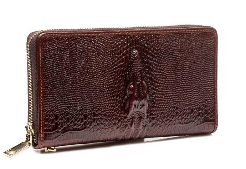 Эксклюзивный мужской кожаный клатч под кожу крокодила коричневый (0033