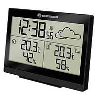 Высококачественная комнатная метеостанция TemeoTrend LG black/черная Bresser  921485.