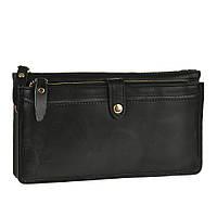 Оригинальный мужской кожаный клатч-борсетка черного цвета (00337)