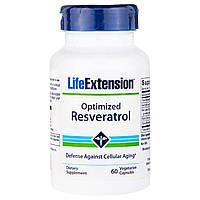 Life Extension, Оптимизированный резерватрол, 60 вегетарианских капсул