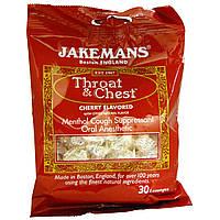 """Jakemans, Средство от кашля """"Грудь и горло"""", ментол, со вкусом вишни, 30 леденцов"""